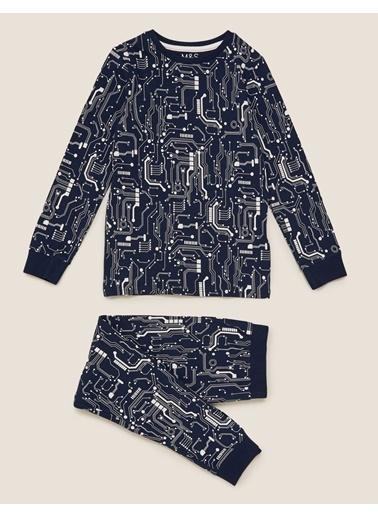 Marks & Spencer Desenli Pijama Takımı Lacivert
